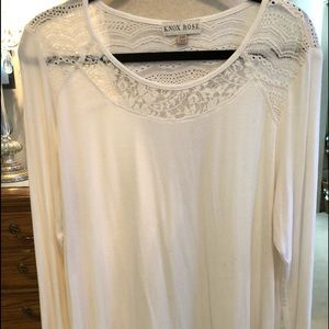 Cream top with lace long sleeve top